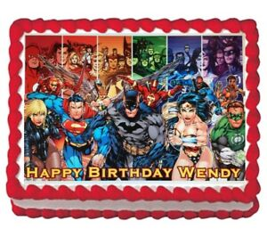 Image Is Loading Justice League Edible Cake Topper Decoration Party