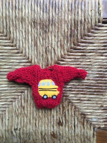 Mini Sweater Christmas Ornament School Bus Ornament for bus driver or teacher