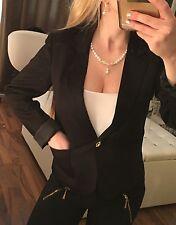 NEU H&M Kurzer Blazer Jacke Schwarz Mit Gold Knopf Luxus Elegant XXS-XS 32-34