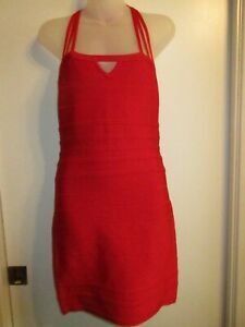 bebe-M-Dress-Bright-Cherry-Red-Bandage-Bodycon-Strappy-Keyhole-Cocktail-Party