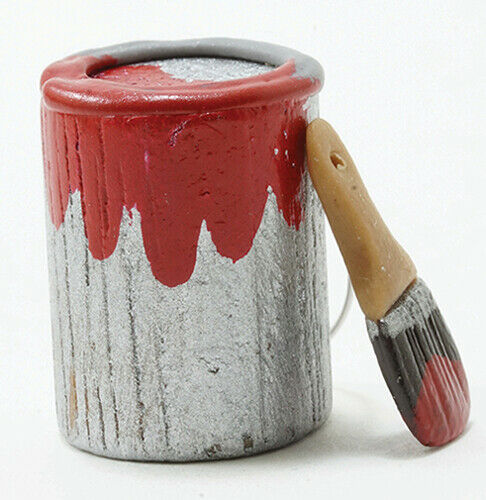 Miniature Dollhouse Can of Red Paint With Brush 1:12 Scale New