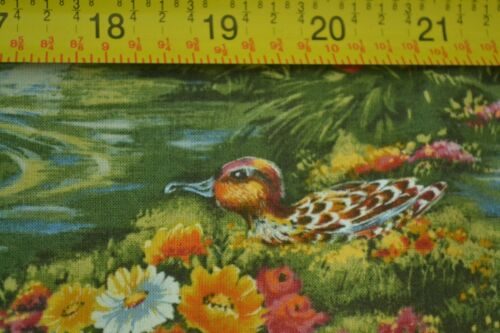 """Flowers /& Ducks on Water on Quilter/'s Cotton JoAnn M6453 42/"""" By-the-Half-Yard"""