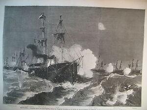ESPAGNE-CARTHAGENE-COMBAT-NAVAL-FREGATES-INSURGeES-ET-FLOTTE-GRAVURE-1873
