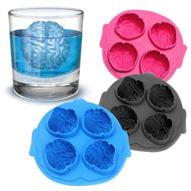 Silicone Brain Shape Ice Freeze Cube Tray Maker Mould Mold Bar Party Drink ES