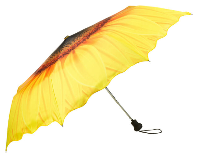 Taschenschirm Regenschirm Automatik gelb UV-Schutz Wellenkante Sonnenblume 5209T