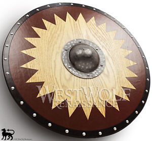 Viking Solid Oak Shield with Forged Iron Boss - sca/larp/norse<wbr/>/Norway/wood/a<wbr/>rmo