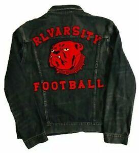Polo-Ralph-Lauren-RL-VARSITY-FOOTBALL-Bulldogs-Varsity-P-Black-Denim-Jacket-XXL