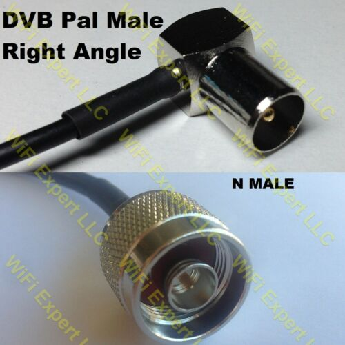 USA-CA RG188  DVB Pal Male Angle to N MALE Coaxial RF Pigtail Cable