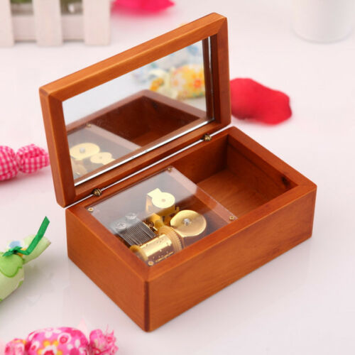 LILIUM Rectangle jewelry Wood Wind Up  Music Box ELFEN LIED