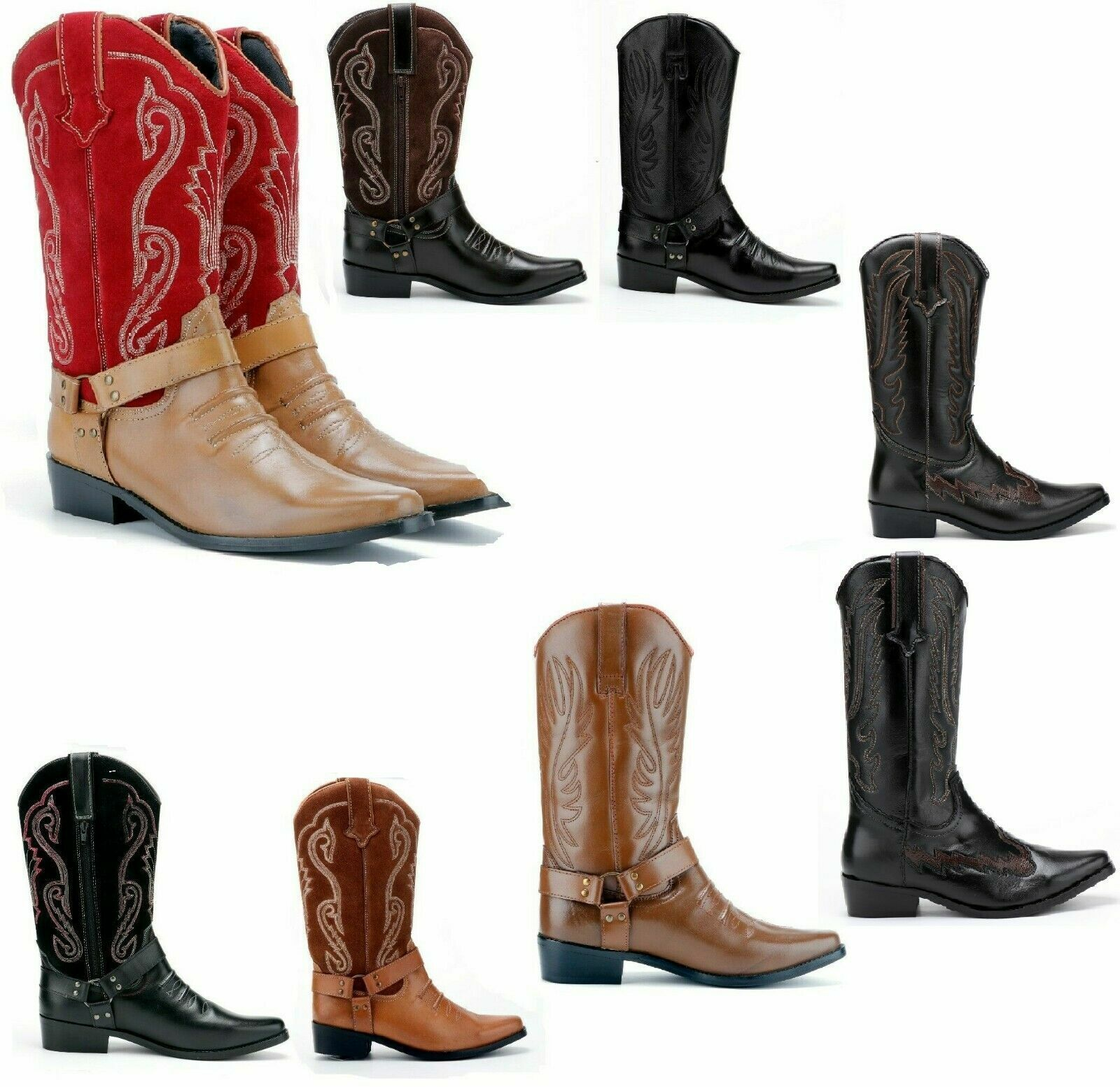 Mens Leather Cowboy Boots Long Pull on Western Line Dancing Cuban Heel Hunting