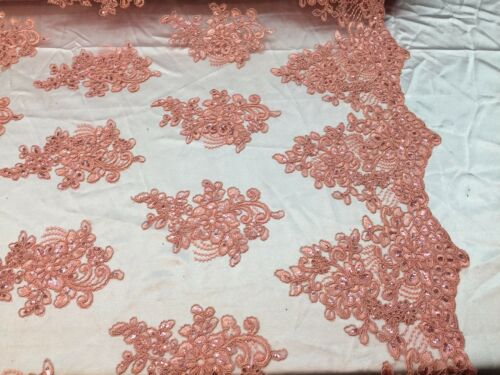 Lace Fabric Corded Flowers Embroidery With Sequins For Dress Coral By The Yard