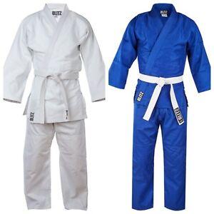 Adulto-Polialgodon-Estudiante-369ml-Judo-Gi-traje-kimono-Uniforme-En-Blanco-amp