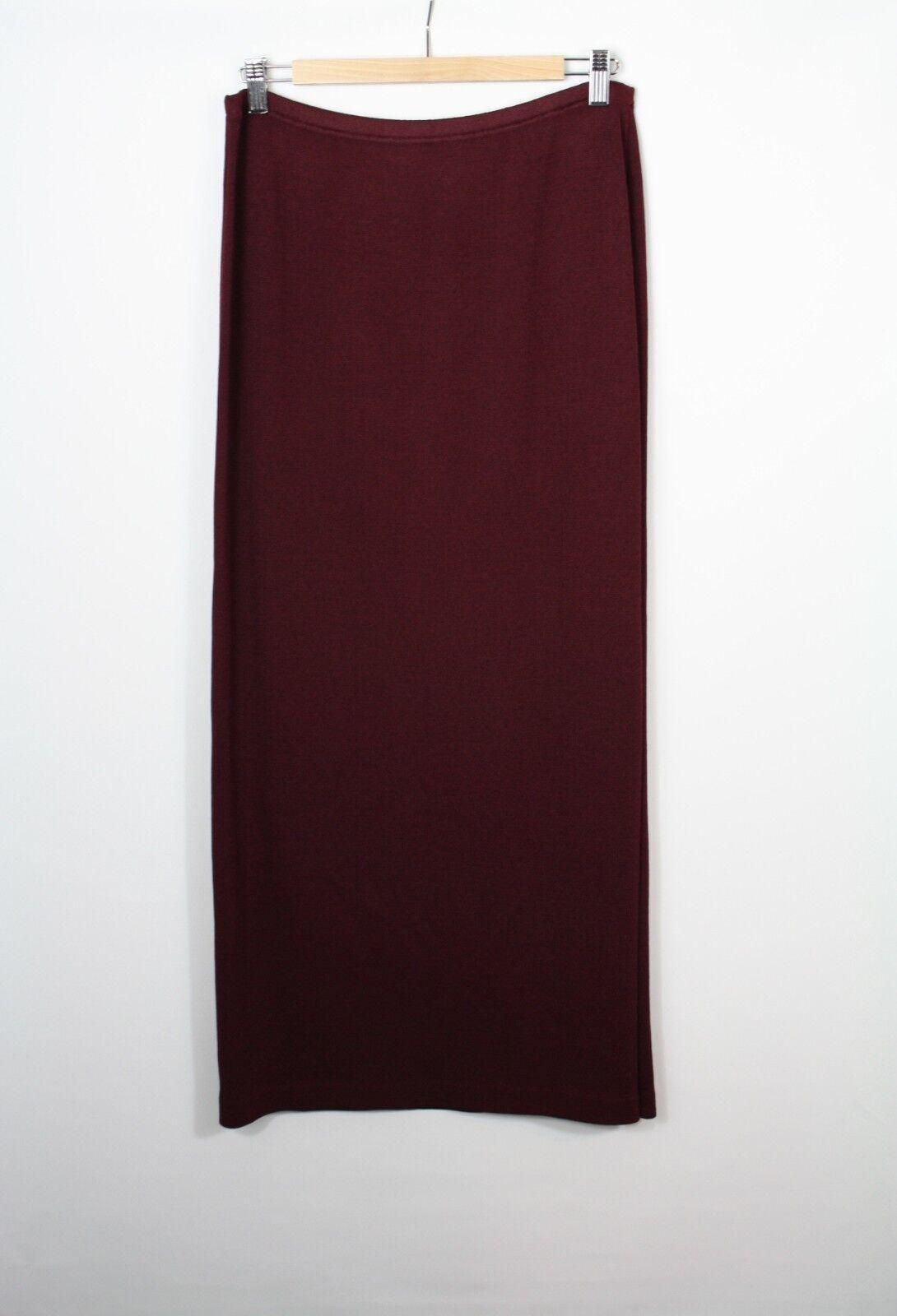 St. John Evening Santana Knit Garnet Purple Long Straight Maxi Skirt Size 6 New