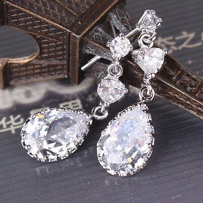 Charming 18k white gold filled pear cut white topaz fine-looking dangle earring