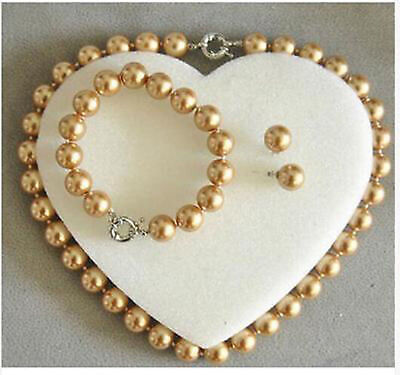 """8mm Silver Champagne South Sea Shell Pearl Necklace 18/"""" AA"""