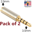 2x-Gold-3-5mm-Male-to-2-5mm-Female-Stereo-Audio-Headphone-Jack-Adapter-Converter thumbnail 1