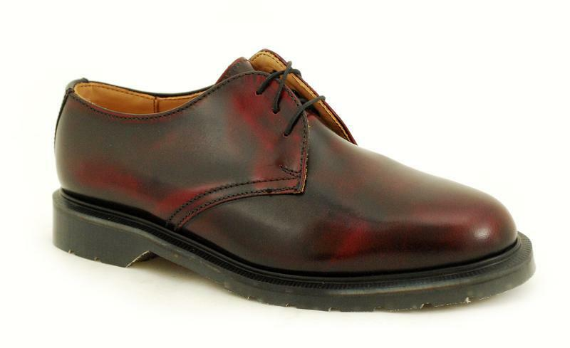 Solovair NPS shoes Made in England 3 Eye Burgundy Rub Off shoes S027-3995BURRO