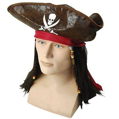 #pirate Caraibi Cappello Con Capelli Per Halloween Festa Costume Adulto Taglia Unica-mostra Il Titolo Originale