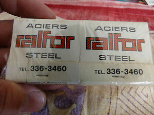 Vintage-Wrapped-Lot-of-4-Match-Books-Aciers-Ralfor-Steel-Steel-Mill-Equipment