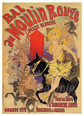 VINTAGE BAL au MOULIN ROUGE FRENCH ADVERTISING A3 POSTER PRINT