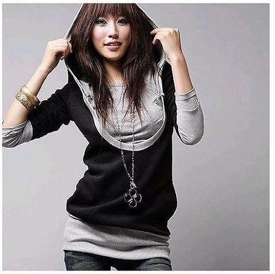 Damen Bluse mit Kapuze Boho Japan Gr. 36 38 40 42 a171