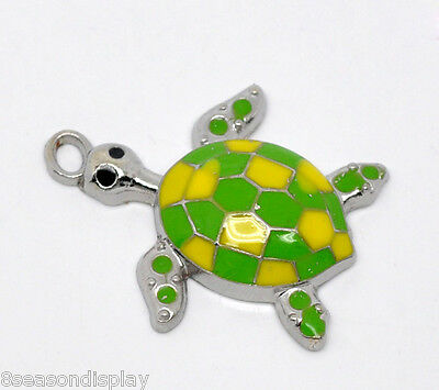 10 Enamel Tortoise/ Turtle Charm Pendants 28x24mm