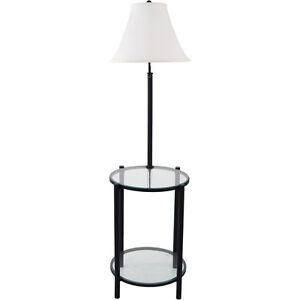 Mainstays 54 glass end table wbuilt in 3 way floor lamp black w image is loading mainstays 54 034 glass end table w built aloadofball Gallery