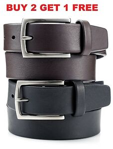 Men's Casual Black Brown Dress Genuine Leather Belt w/ Buckle New Size S M L XL