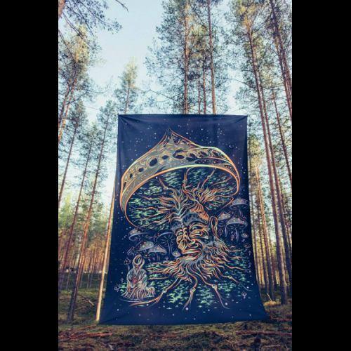 Mushroom Tapestry Psychedelic Poster Tapestry Art Blacklight UV Fluorescent