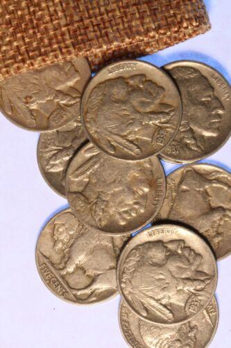 PLUS BONUS COINS NICE COINS! TEN FULL DATE BUFFALO NICKELS IN A BURLAP SACK