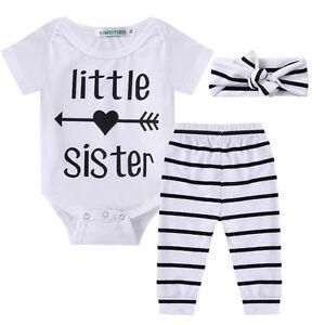Infant Baby Girl Romper Playsuit Jumpsuit Pants Outfit 3Pcs Set Clothes Headband