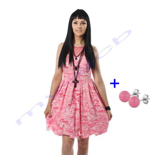 Poizen Industries Kalista Dress Pink Kleid mit Brand Optik Stahlperlen Ohrringe