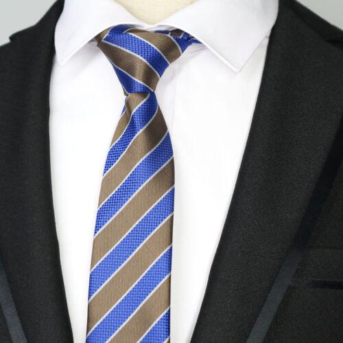 Blue Brown Striped 6CM Men skinny tie Man Jacquard Wedding Party Silk ties NEW
