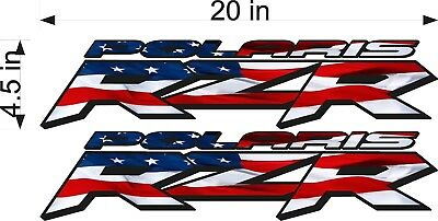 "20/"" BLUE Vinyl Vehicle ATV Graphic Sticker Decals PAIR Polaris Logo RZR"