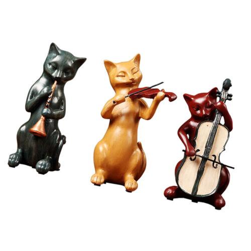 3tlg Dekofigur Tierfigur Gartenskulptur Katze Tiermotiv Katzenliebhaber