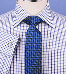 New-Arrival-Blue-Gingham-Check-Business-Dress-Shirt-Formal-Double-Cuff-Styles