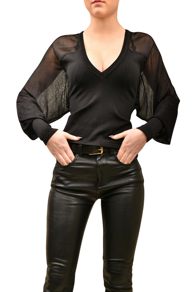 Ronny Kobo damen Semi Sheer Top Slim Long Sleeve schwarz Größe XS