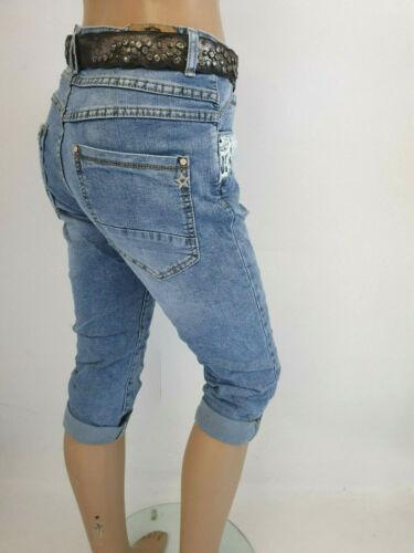 @--}-- 38-48 Karostar Capri  Bermuda Baggy Boyfriend Jeans mit Spitze Gr