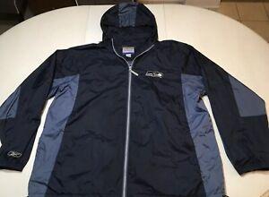 cheap for discount 4d384 9b4d5 Details about Reebok Mens Seattle Seahawks NFL Zip Rain Jacket Windbreaker  Sz 2XL - EUC