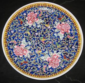 ANTIQUE-CHINESE-FAMILLE-ROSE-PORCELAIN-CHARGER-PLATE-19TH-C-QIANLONG-MARK-NR
