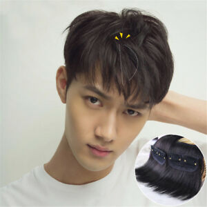 Men-039-s-100-Real-Human-Hair-Clip-in-Hair-Extension-Cover-Thin-Loss-Hairpiece