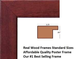 brown solid wood picture frame poster frame 11x14 11x17 18x20 22x34 24x36 27x40 ebay. Black Bedroom Furniture Sets. Home Design Ideas