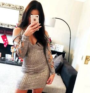 New-Bodycon-Dress-Fitted-V-Neck-Long-Sleeve-Womens-Ladies-Party-Wear-UK-Size