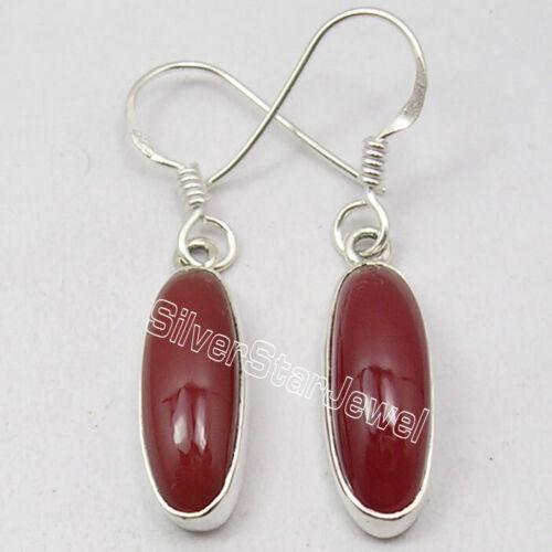 Sterling Silver Carnelian Pierced Earrings 3.7 cm 3.7 Grams Wholesale Gift
