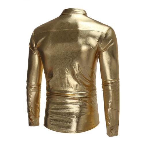 Night Club Wear Men/'s Elastic Shirts Slim Stylish Metallic Shiny Shirt Mens