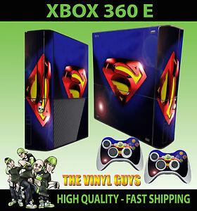 Xbox-360-E-Superman-Lente-Flair-Sticker-Skin-amp-2-X-Controlador-Pad-Skins