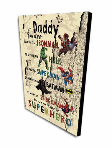 PERSONALISED DADDY GIFT Batman,Hulk DAD Superhero Father`s day Gift Plaque