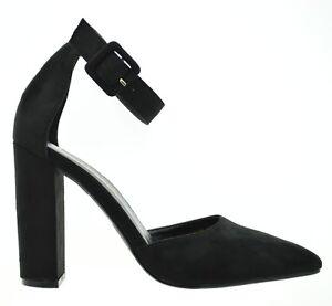 Scarpe-nere-donna-decolte-a-punta-scarpe-aperte-decollete-camoscio-tacco-comodo
