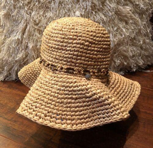 Vintage BoHo Chic Woven Shell Beaded Wide Brim Flo