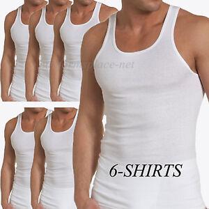6 Undershirt Cotton Men A Shirt Tee Wife Beater Ribbed Tank Top Sleeveless White